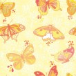 Seamless texture with butterflies and flowers - Stock Vector