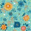 Blue Repeating Floral Background — Stock Vector #9322839