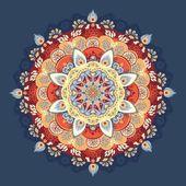 Kırmızı ve mavi vektör çizim. güzel çiçek dantel modeli — Stok Vektör