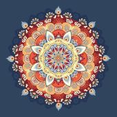 RED and BLUE Vector illustration. Beautiful floral lace pattern — Stok Vektör