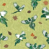 Green tones with birds seamless pattern — Stock Vector