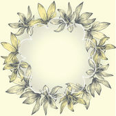 Vintage lace frame with flowers, hand-drawing. Vector. — Stock Vector