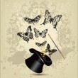 Magic wand and hat with butterflies on a vintage background — Stock Vector