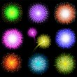 Set of festive colored fireworks on black background. Vector illustration. - Stock Vector