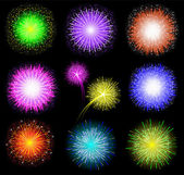 Set of festive colored fireworks on black background. Vector illustration. — Stock Vector