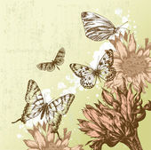 Vintage background with beautiful butterflies and blooming flowers. Vector — Stock Vector