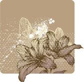 Květinové pozadí s kvetoucí lilie královská, ruční kreslení. příklad, kde vektor — Stock vektor