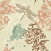 Seamless floral background with flying dragonflies, hand-drawing. Vector. — Stock Vector