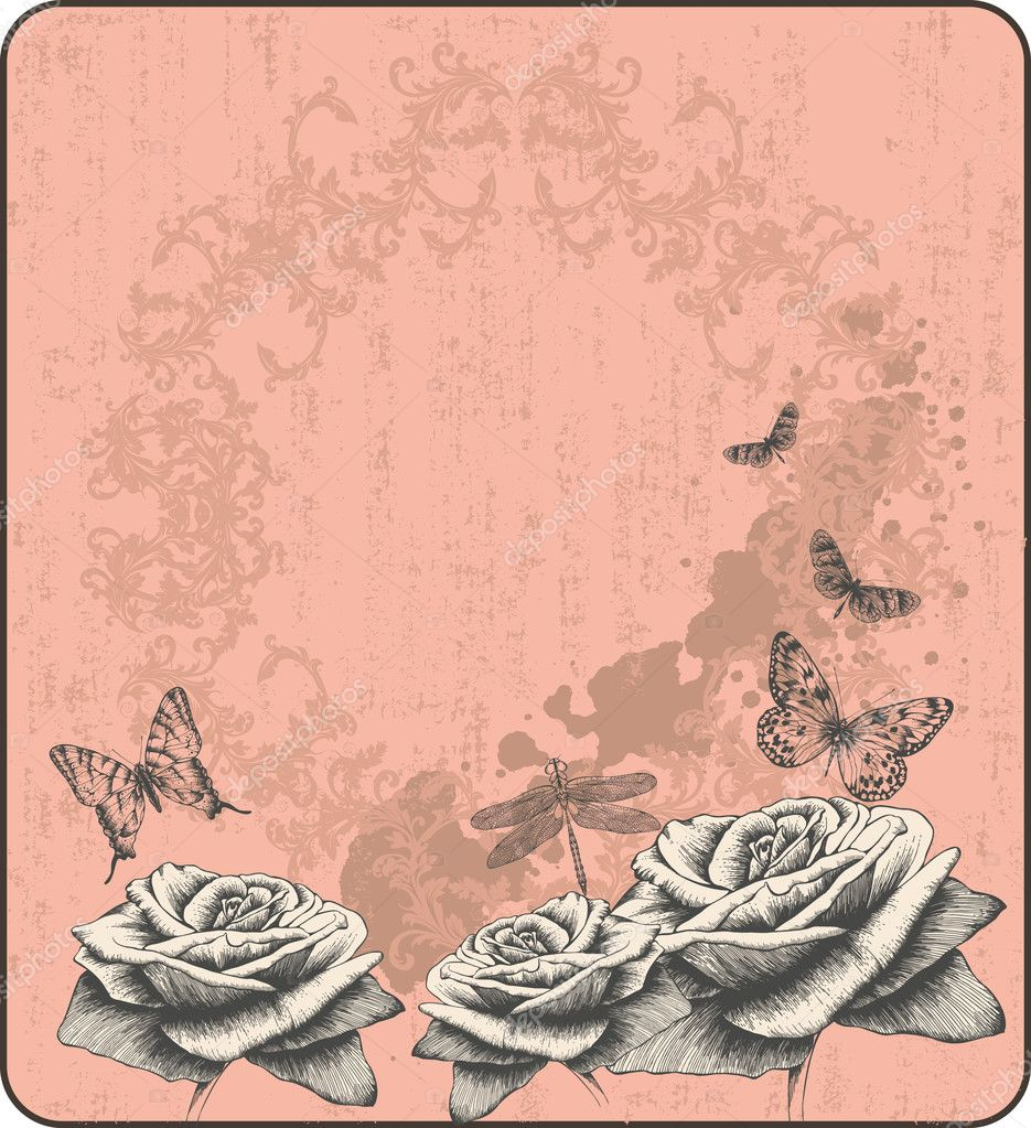 Pink vintage background with decorative butterflies and  -> Vintage Kommode Rosa