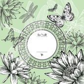 Vintage round frame with water lilies, butterflies and dragonflies, hand-drawing. Vector. — Stock Vector