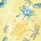 Seamless background with water lilies, dragonflies and butterflies, hand-drawing. Vector. — Stock Vector