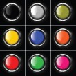 Set of abstract metallic background with round colored glossy banner, vector. — Stock Vector