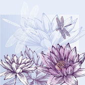 Floral background with blooming water lilies and dragonflies flying, hand-drawing. Vector. — Stock Vector