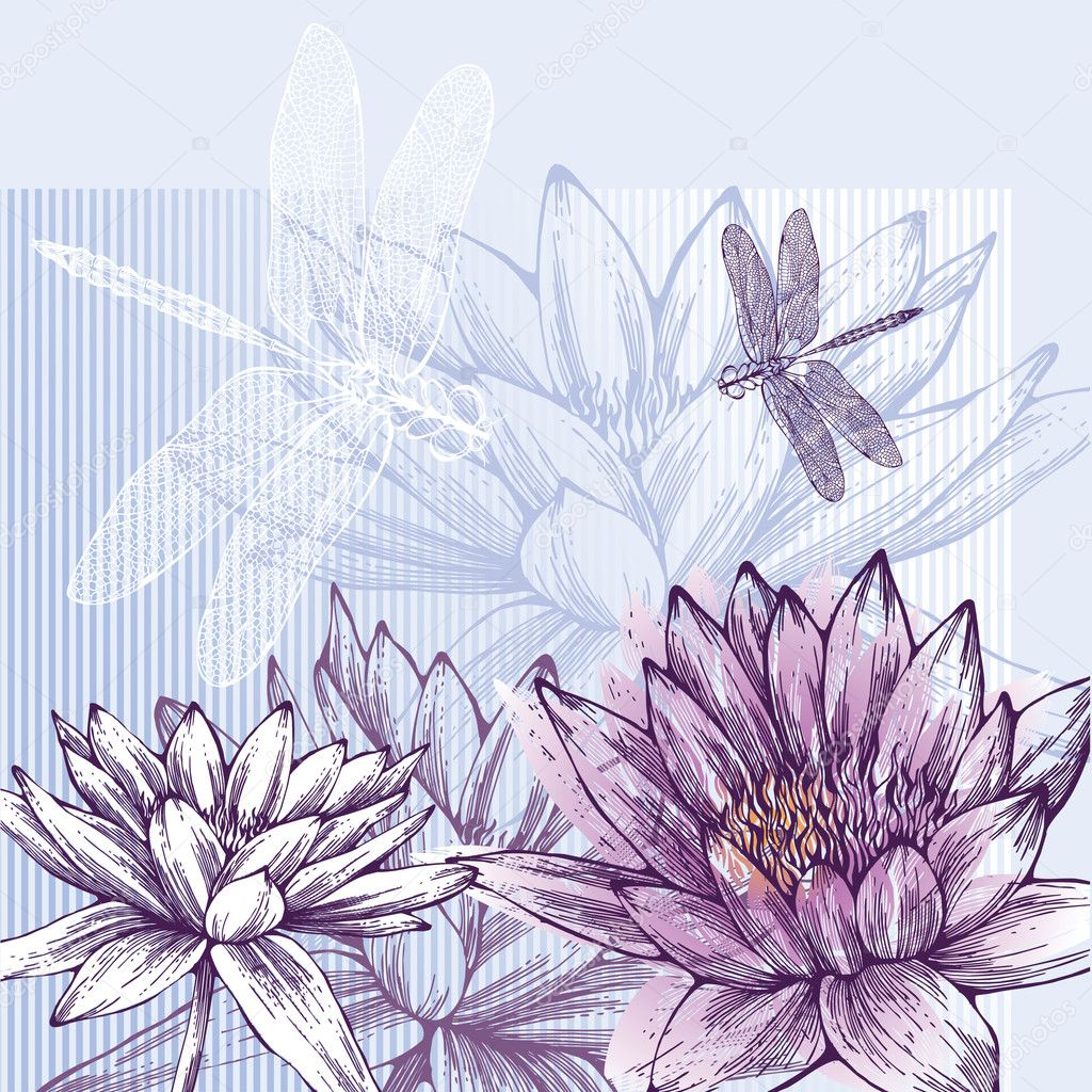 Floral background with blooming water lilies and dragonflies flying,  hand-drawing. Vector.