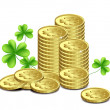 Stock Vector: Gold coins and leaves of clover, St. Patrick's Day celebration.