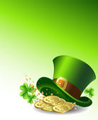 Background to the St. Patrick's Day with a green hat and gold coins. Vector. — Vector de stock