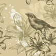 Seamless background with birds and flowering lilies, hand-drawing. Vector. — Stock Vector