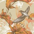 Seamless pattern with lilies and a flying bird, hand-drawing. Vector. — Stockvektor
