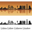 Lisbon skyline in orange background — Stock Vector #8986608