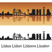 Lisbon skyline in orange background — Stock Vector