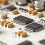 White electronic circuit board, top view — Stock Photo