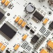 White electronic circuit board, top view - Stock Photo