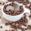 Stock Photo: Ceramic cup with coffee seed and euro coins