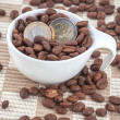 Ceramic cup with coffee seed and euro coins — Stock Photo