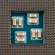 Close-up of computer processor socket - Stock Photo