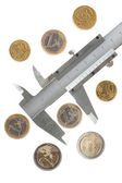 Euro coins and caliper, isolated — Stock Photo
