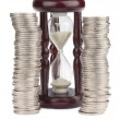 Hourglass and Euro coins — Stock Photo