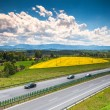 Two line, wide road with curve, highway - Stock Photo