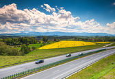 Two line, wide road with curve, highway — Stock Photo
