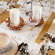 Stock Photo: Christmas table set with sculptures