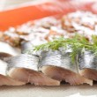 Four herring slices — Stock Photo