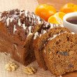 Stock Photo: Dark fruitcake with fruits