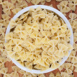 Uncooked pasta top view - Foto Stock