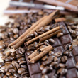 Coffee beans and chocolate - Foto Stock