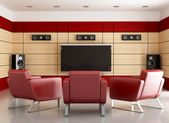 Elegan home cinema room — Stock Photo