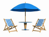 Blue deckchair and parasol — Stock Photo