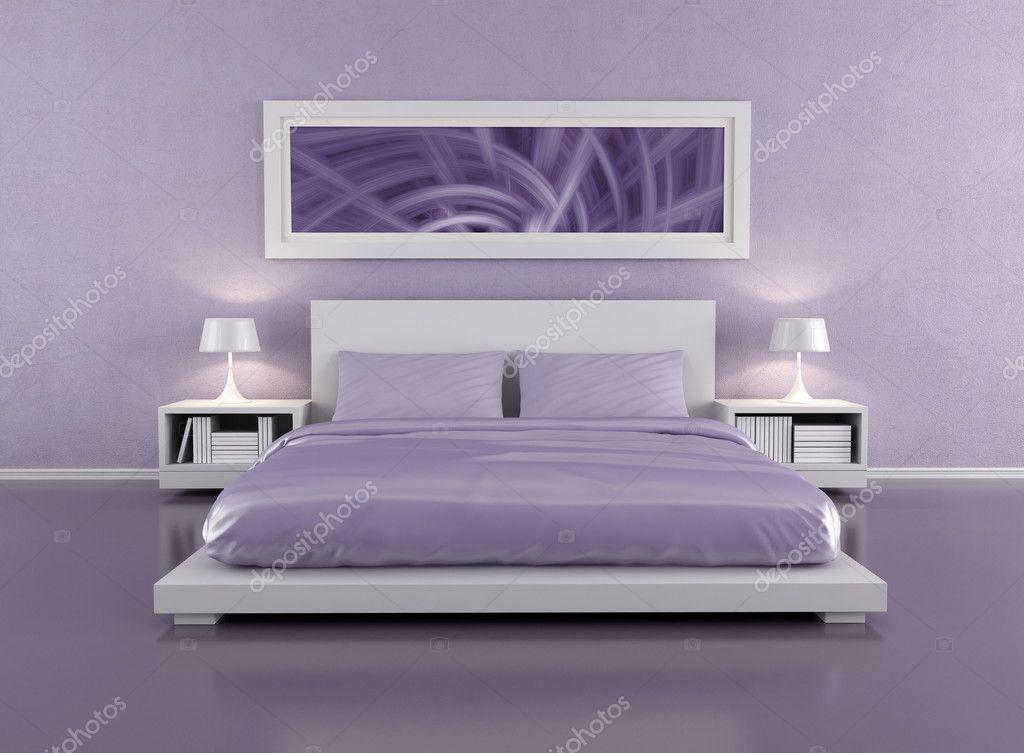 Downloaden - Minimalistische Lila slaapkamer - rendering - het beeld ...