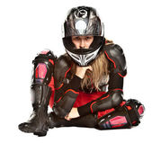 Girl - motorcycle rider — Stock Photo
