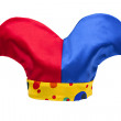 Multi-colored jester hat isolated on white background — Stock Photo