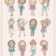 Stockvector : Cartoon girls. Fashion children. Set of cute girls with fashiona