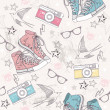 Cute grunge abstract pattern. Seamless pattern with shoes, photo — ベクター素材ストック