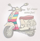 Colorful vintage scooter. Postcard, greeting card or invitation. — Stockvektor