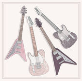 Electric and bass guitars set. Cute guitars with floral pattern. — Stock Vector