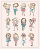 Chicas de dibujos animados. niños de la moda. conjunto de chicas guapas con fashiona — Vector de stock