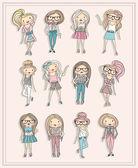 Cartoon girls. Fashion children. Set of cute girls with fashiona — Stock Vector