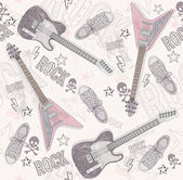 Cute grunge abstract pattern. Seamless pattern with guitars, sho — 图库矢量图片